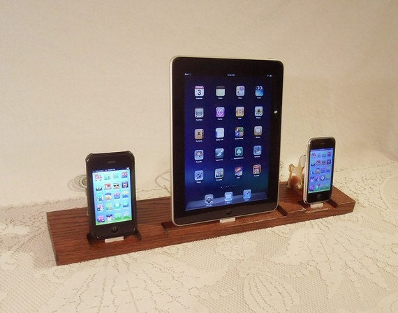 iPad - iPhone - iPod - Dock -TRIPLE Unit - Sync and Charging iDock Station- Custom Built Oak Model..- Custom Oak Model -  iPad Dock  iPhone4