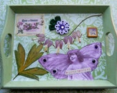 Altered Collage Tray: Botanical Angel