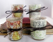 Decoupage Votive Candle Holder Set: French Script and Soft Green Floral Motif