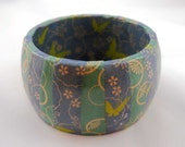 Chunky Decoupage Bangle, SMALL: Blue Lagoon Butterfly Origami Wrapped Wood Bangle