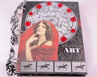 Mixed Media Journal // Art Blank Notebook or Sketchbook // Red and Black Collage Steampunk // 6x8 inches // Handmade Gift // Canvas Covers