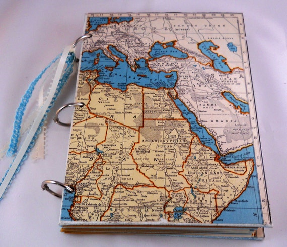 Decoupage Vintage Maps Journal with Canvas Covers and Hand Stamped Pages