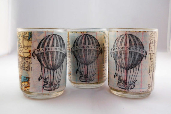 Decoupage Votive Candle Holder Set: Wanderlust-- Vintage Maps with Hot Air Balloons