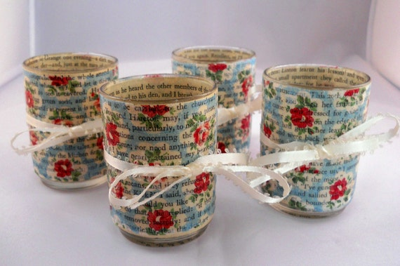 Decoupage Votive Candle Holder Set: Robin's Egg Blue and Red Roses with Wuthering Heights Vintage Pages