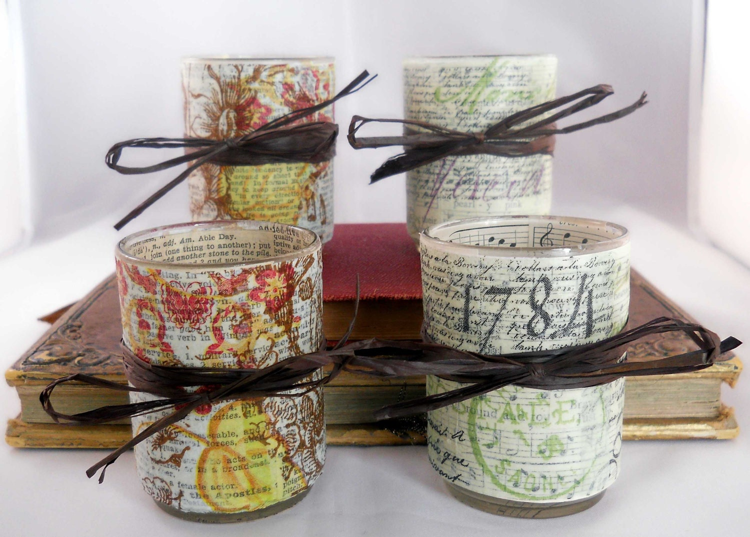 Decoupage Votive Candle Holder Set: French Script and Soft