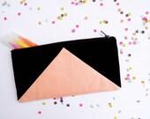 """zipper pouch 4""""X8""""  geometry  pencil case black peach"""
