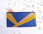 """zipper pouch 4""""X8""""  geometry  pencil case back to school"""