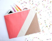 Pastel Geometric XLARGE zipper pouch 10 x 8 inch camel and coral