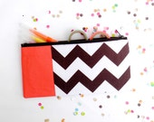 """back to school chevron zipper pouch 4""""X8""""  geometry  pencil case in brown and dark coral"""