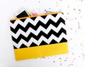 Neon XLARGE zipper pouch 10 x 8 inch geometry color block black and white and yellow
