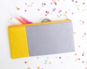 """Neon zipper pouch 4""""X8""""  geometry  pencil case in bright yellow and grey"""