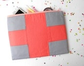 XLARGE zipper pouch 10 x 8 inch geometry color block in grey and hot coral