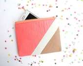 """Small zipper pouch 4,7""""X6"""" geometry color block in coral and camel"""