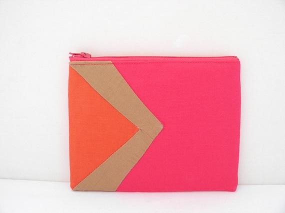 "Neon Small zipper pouch 4,7""X6"" geometry color block mango camel hot pink"