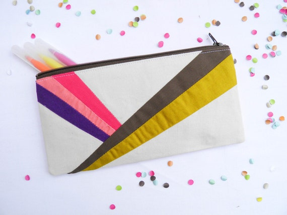 "back to school zipper pouch 4""X8""  geometry  pencil case stripes"