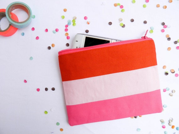 """Neon Small zipper pouch 4,7""""X6"""" geometry color block in paprika pink"""