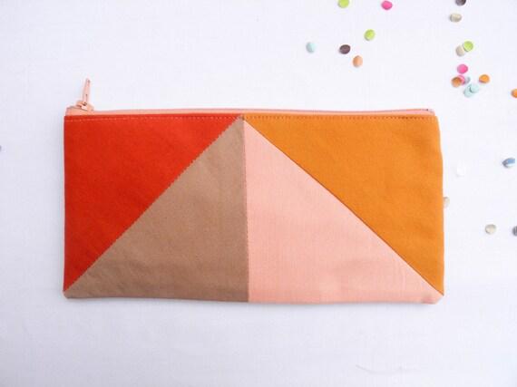 "zipper pouch 4""X8""  geometry  pencil case in paprika camel peach and caramel"