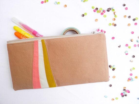 "zipper pouch 4""X8""  geometry  pencil case camel coral mustard"