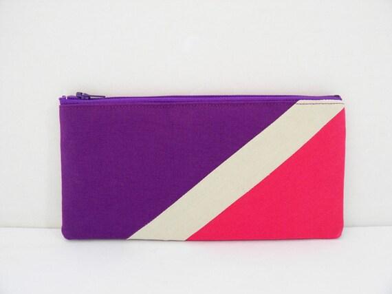 """zipper pouch 4""""X8""""  geometry  pencil case in purple beige hot pink"""