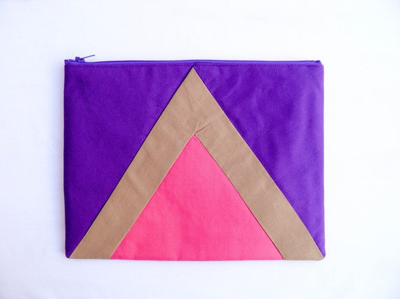 Geometric XLARGE zipper pouch 10 x 8 inch triangle purple camel and hot pink