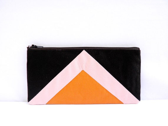 """zipper pouch 4""""X8""""  geometry  pencil case in brown peach and apricot"""