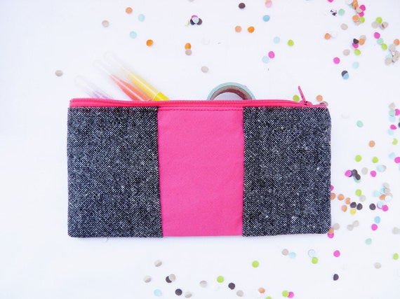 "Neon zipper pouch 4""X8""  geometry  pencil case in tweed and hot pink"