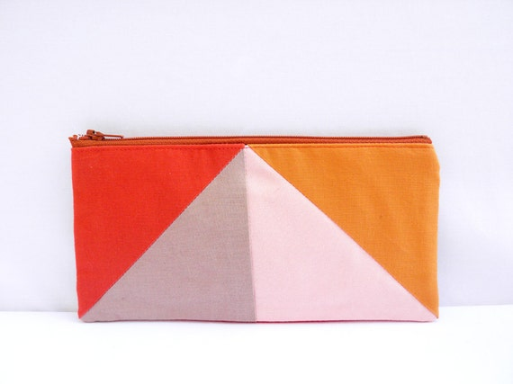 "Neon zipper pouch 4""X8""  geometry  pencil case in paprika camel peach and apricot"