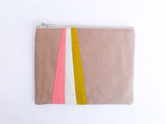 "Small zipper pouch 4,7""X6"" geometry color block in camel coral and mustard"