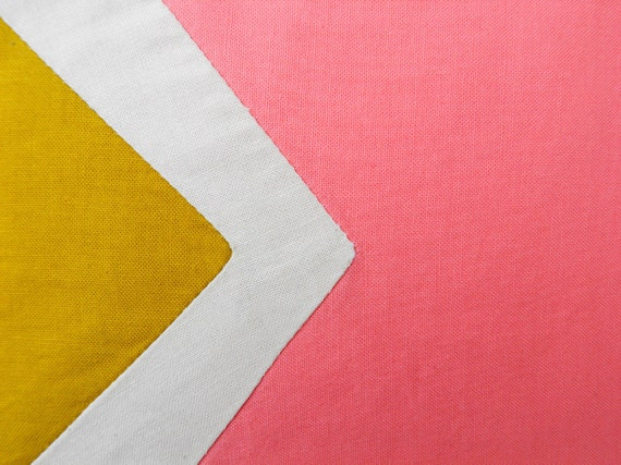 """RESERVED Neon Small zipper pouch 4,7""""X6"""" geometry color block in mustard and coral"""