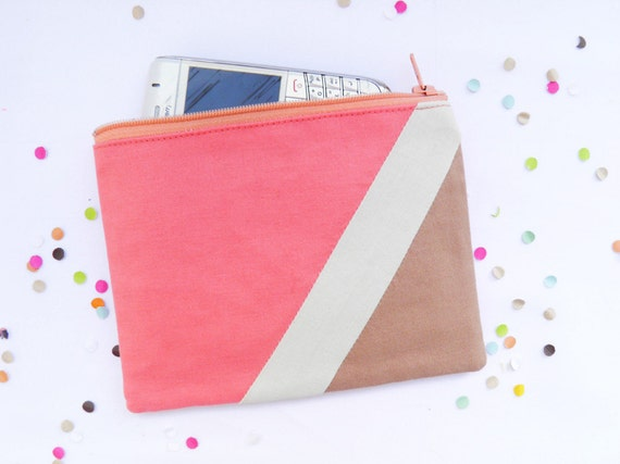 "Small zipper pouch 4,7""X6"" geometry color block in coral and camel"