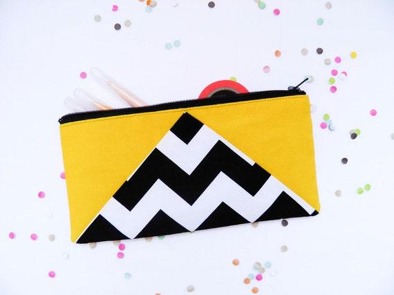 "back to school Chevron zipper pouch 4""X8""  geometry pencil case in bright yellow"
