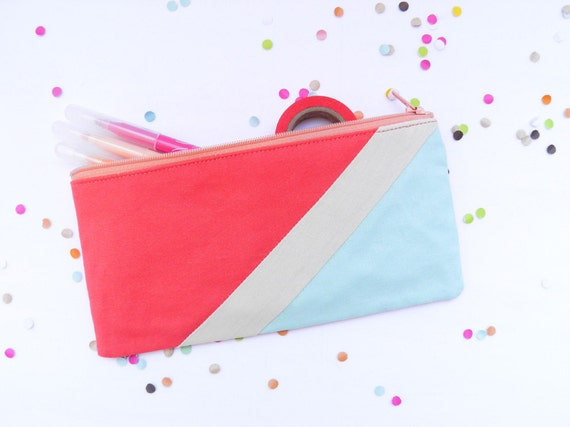 "zipper pouch 4""X8""  geometry  pencil case in hot coral and iced blue"
