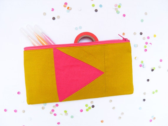 """back to school Neon zipper pouch 4""""X8""""  geometry  pencil case in hot pink and mustard"""