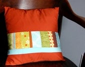 Patchwork Pillow Cover // 14 x 14 Inch // Orange Blue & Green