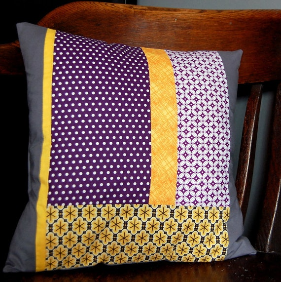 Patchwork Pillow Cover // 16 x 16 Inch // Grey Purple & Yellow