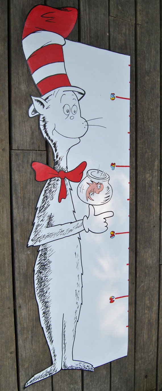 Dr seuss cat in the hat wallpaper mural growth chart for Dr seuss wall mural