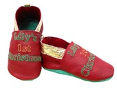 Personalised Christmas Baby Shoes. Leather Keepsake Shoes reading 'Name's 1st Christmas'
