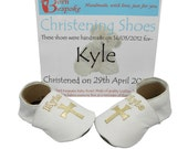 Personalized Baptism Shoes. White Leather Soft Soled Shoes with Metallic Cross. Name on front, and Christening Details on Soles.
