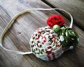 Girls Rosette Headband Green Red and Ivory Christmas