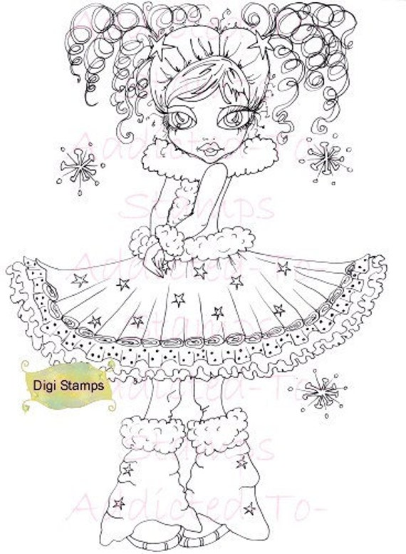 Items similar to PRINTABLE Digi Stamp Downloads Snow Flake ...