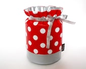 SALE // LAST ONE // Cutlery caddy Wrap Cover Envelope - Red polka dots coated fabric Silver Kitchen Home decor Design