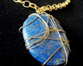 Beautiful Gold Wire Wrapped LARGE Lapis Lazuli ( Lazurite )