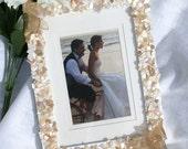 Wedding Frame - picture frame seashell frame bridal shower gift peach white 5x7