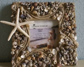Seashell picture frame - Home Decor coastal frame sea shell photo frame cottage decor beach decor