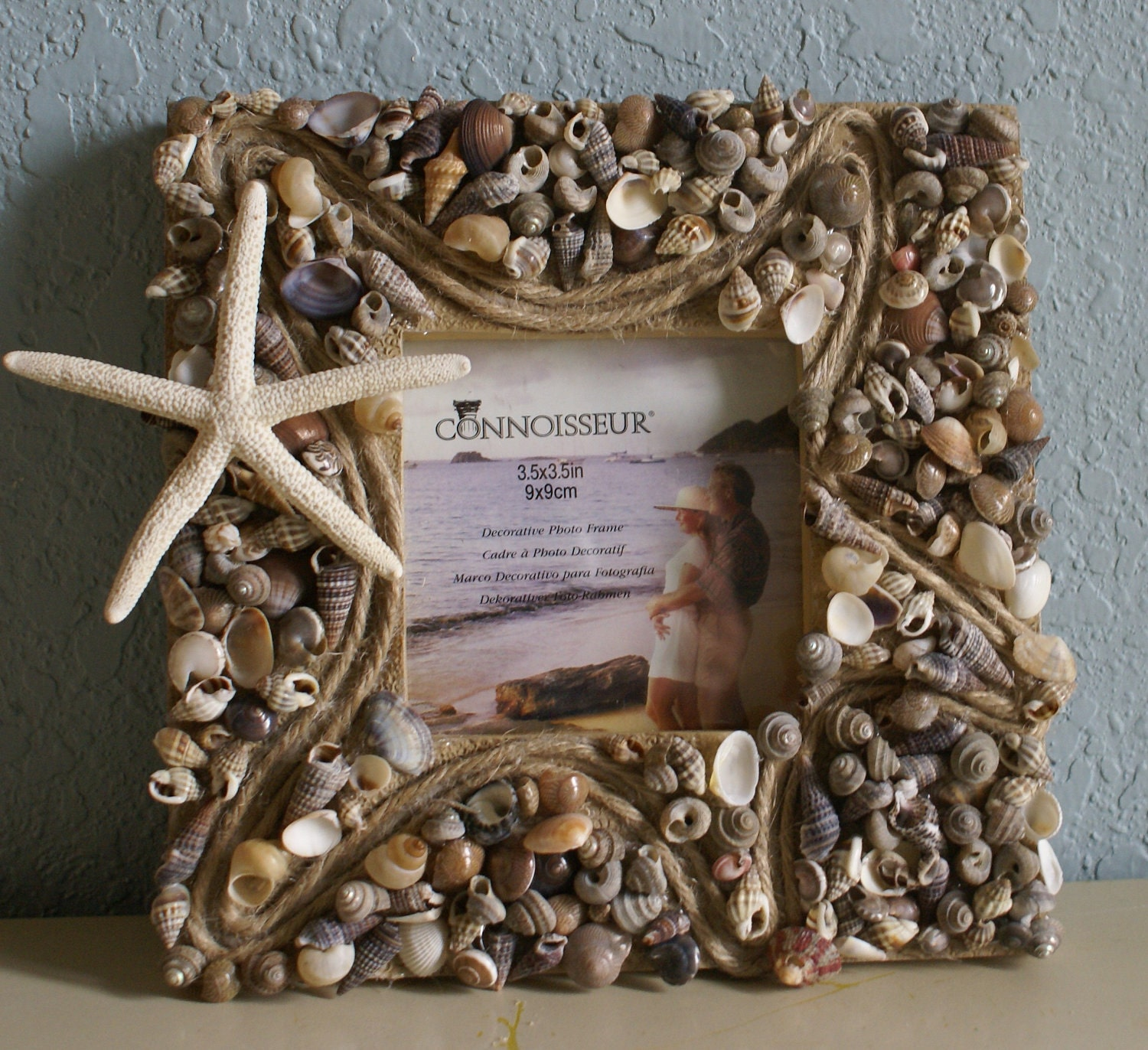 seashell picture frame home decor coastal frame sea shell