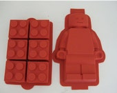 Silicone Lego Minifigure cake  & brick cake  candy soap cupcake mold birthday party favors supplies set of 2 molds