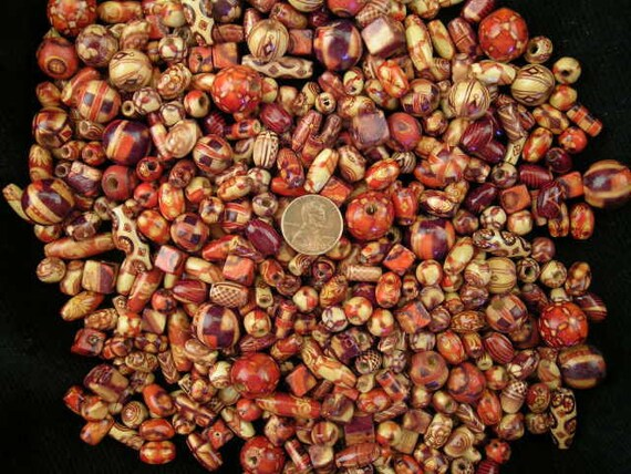 500  Assorted mixed shape wood beads  Destash  liquidation Price Closeout