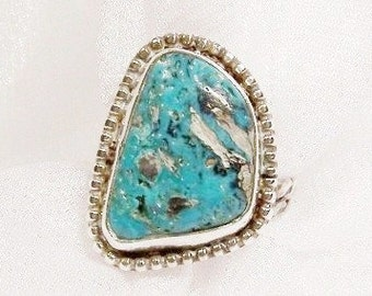 Vintage Turquoise Ring in Sterling Silver, Size 9 1/2 - B2009