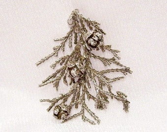 Vintage Sterling Silver Pendant: Cypress Cones & Branch - i1017