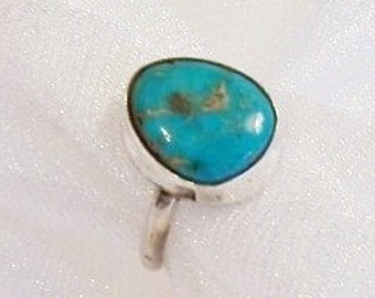Vintage Turquoise Sterling Silver Ring: Western Style Ring - Size 4 1/2 - J1007